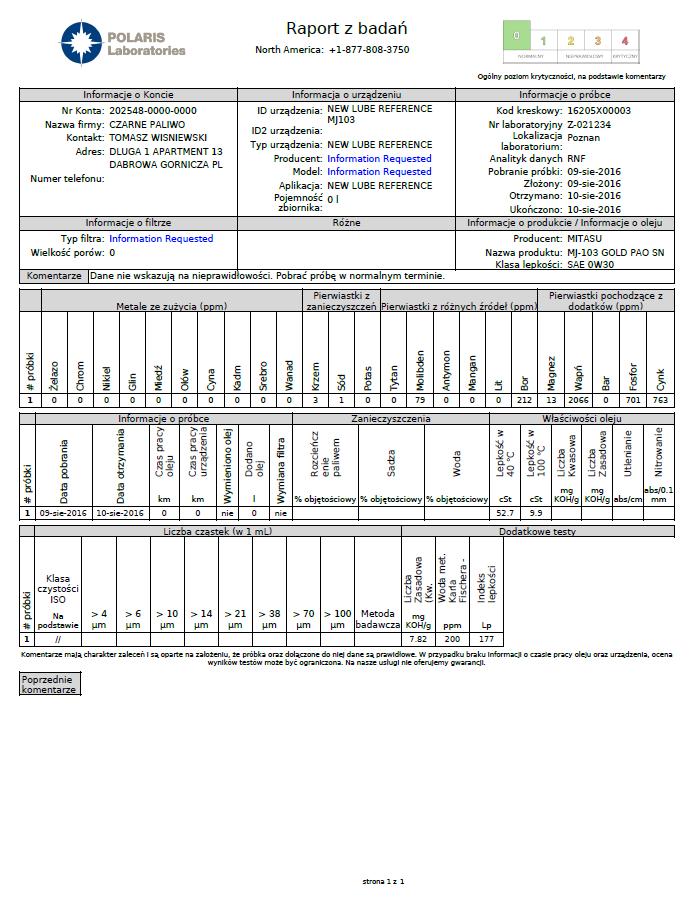MJ-103 0W-30 raport zbadania oleju świeżego